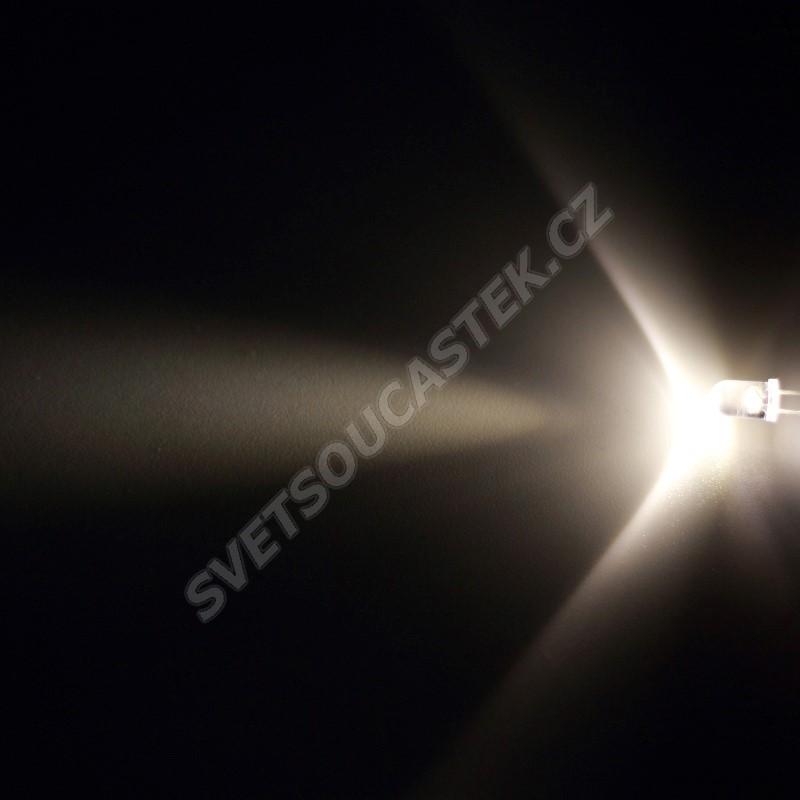 LED 5mm teplá bílá 22000mcd/17° čirá Hebei 515XWO4C