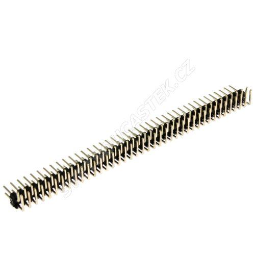 Lámací kolíková lišta dvouřadá 2x40 pinů RM2.54mm pozlacená úhlová 90° Xinya 112-A-D R 80G