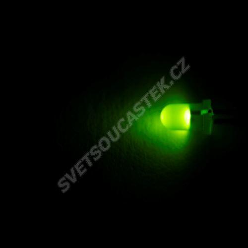 LED dioda 3mm zelená 3.5mcd/35° difúzní 2mA BrightLed BL-B2141-L