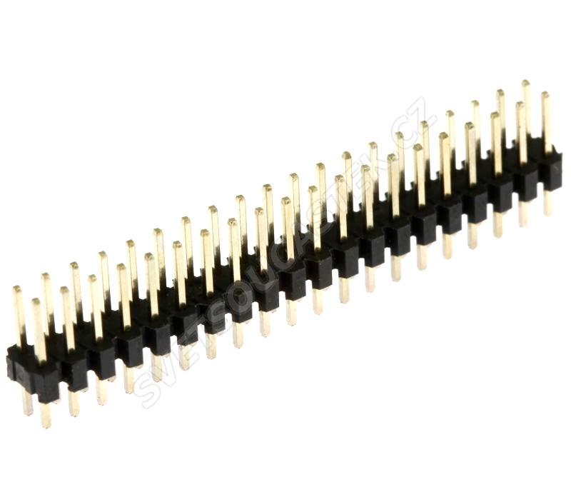 Lámací kolíková lišta dvouřadá 2x20 pinů RM2.54mm pozlacená přímá Xinya 112-A-D S 40G