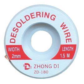 Měděné lanko pro odsávání cínu 2mm/1.5m Zhongdi ZD-180