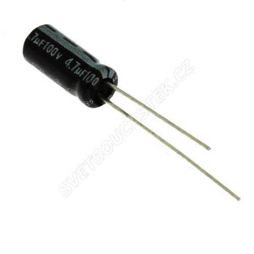 Elektrolytický kondenzátor radiální E 4.7uF/100V 5x11 RM2 85°C Jamicon SKR4R7M2AD11M