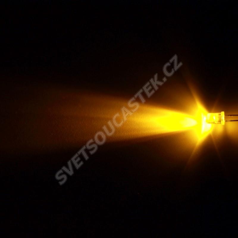 LED 5mm žlutá 1500mcd/30° čirá Hebei 530XY8C