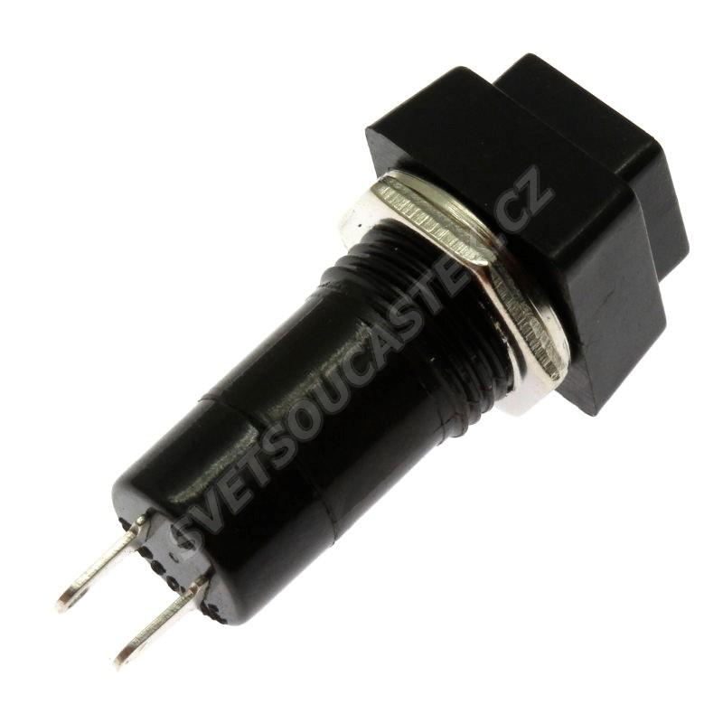 Tlačítkový spínač do panelu přímý spínací 1-pólový ON-OFF 1A 125/250V AC Jietong  PBS-12A BLACK