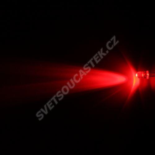 LED 5mm červená 4000mcd/23° čirá Hebei 520MR2C