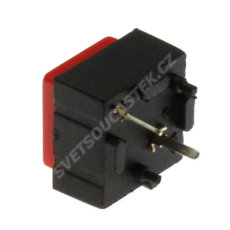 Tlačítkový spínač do DPS přímý spínací 1-pólový (ON)-OFF 25mA 50V Jietong  PBS-18B RED