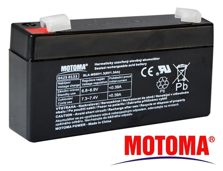 MOTOMA Baterie olověná 6V / 1,3Ah bezúdržbový akumulátor