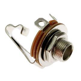 Zásuvka do panelu kovová pro Jack 6.3mm MONO s vypínačem