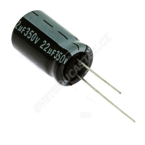 Elektrolytický kondenzátor radiální E 22uF/350V 13x21 RM5 85°C Jamicon SKR220M2VJ21M