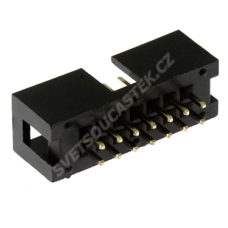 Konektor IDC pro ploché kabely 14 pinů (2x7) RM2.54mm do DPS přímý Xinya 118-A 14 G S K