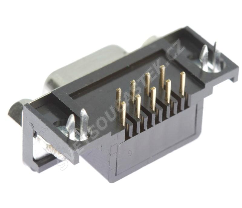 Konektor CANON 9 pinů zásuvka do DPS úhlová 90° Xinya 107-09 S C K A B
