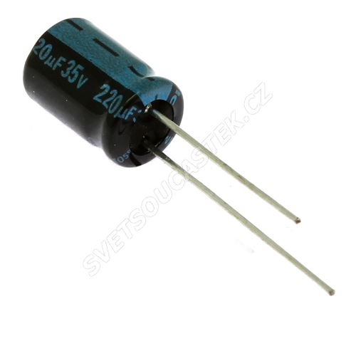 Elektrolytický kondenzátor radiální E 220uF/35V 8x11.5 RM3.5 105°C Jamicon TKR221M1VFBBM