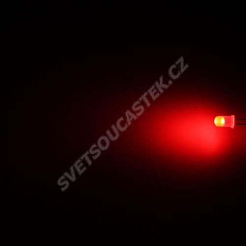 LED 5mm červená 600mcd/70° difúzní Hebei 560MR2D