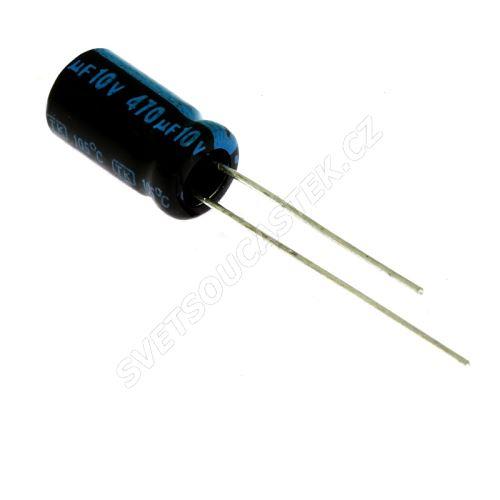 Elektrolytický kondenzátor radiální E 470uF/10V 6.3x11 RM2.5 105°C Jamicon TKR471M1AE11M