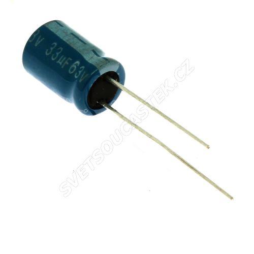Elektrolytický kondenzátor radiální E 33uF/63V 8x11 RM3.5 105°C Jamicon TMR330M1JF11M