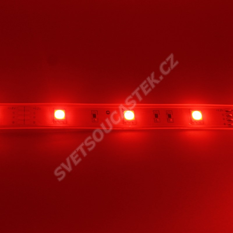 LED pásek červená, SMD 5050, 30LED/m (balení 5m) - vodotěsný (silikon) STRF 5050-30-R-IP66
