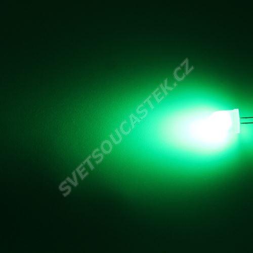 LED 10mm zelená 2100mcd/50° difúzní Hebei 105PG2D