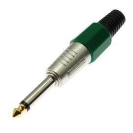 Vidlice Jack kovová 6.3mm na kabel MONO zelená