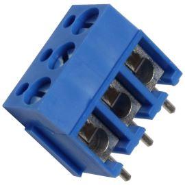 Šroubovací svorkovnice do DPS 3 kontakty 24A/250V RM 5.08mm modrá barva PTR AKZ120/3DS-5.08-V-BLUE