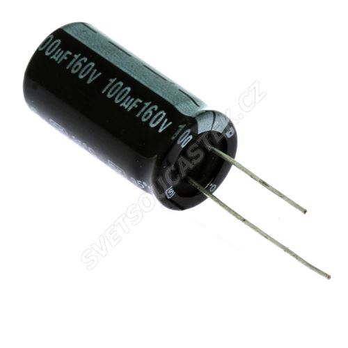 Elektrolytický kondenzátor radiální E 100uF/160V 12.5x25 RM5 85°C Jamicon SKR101M2CJ26M