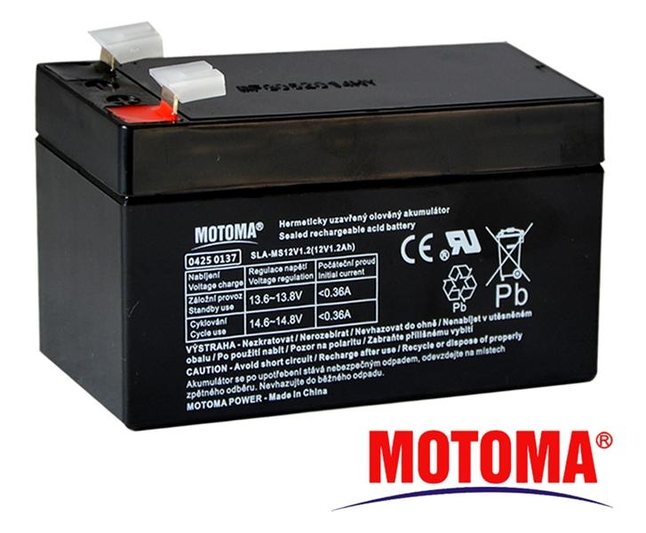 MOTOMA Baterie olověná 12V/ 1,2Ah bezúdržbový akumulátor