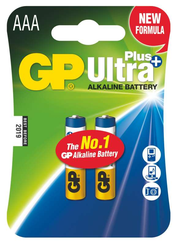 GP Batteries Alkalická baterie GP Ultra Plus LR03 (AAA), 2 ks v blistru