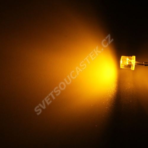 LED 5mm žlutá 770mcd/100° čirá Hebei 599MY8C