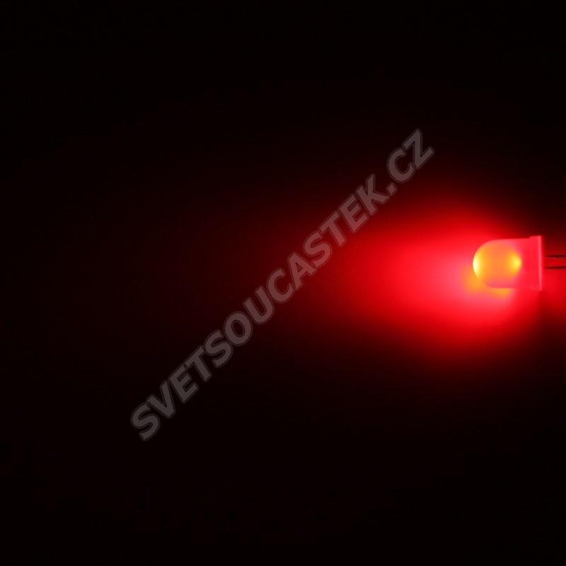 LED 10mm červená 600mcd/50° difúzní Hebei 105XR2D