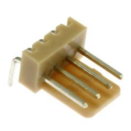 Konektor se zámkem 4 piny (1x4) do DPS RM2.54mm úhlový 90° pozlacený Xinya 137-04 R G