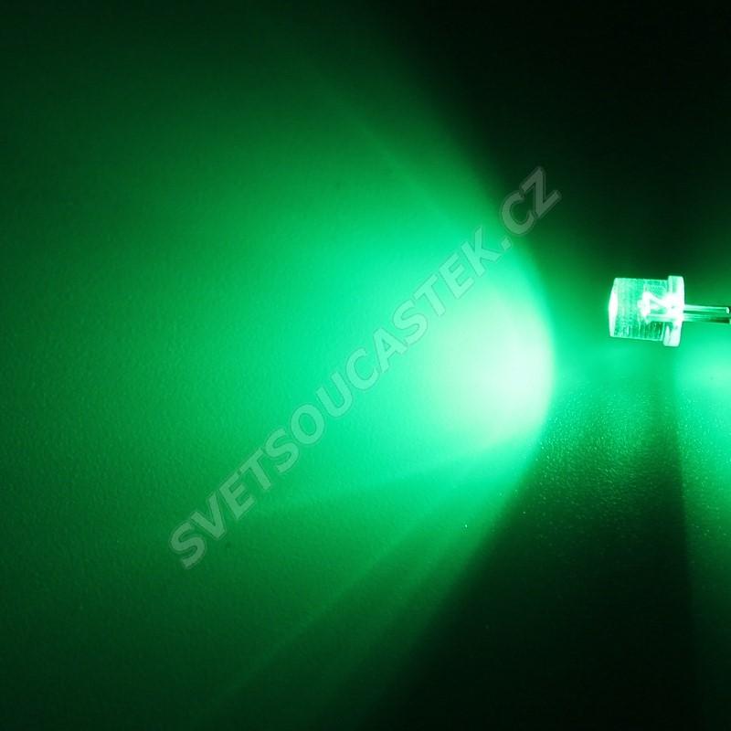 LED 5mm zelená 3000mcd/100° čirá Hebei 599PG2C