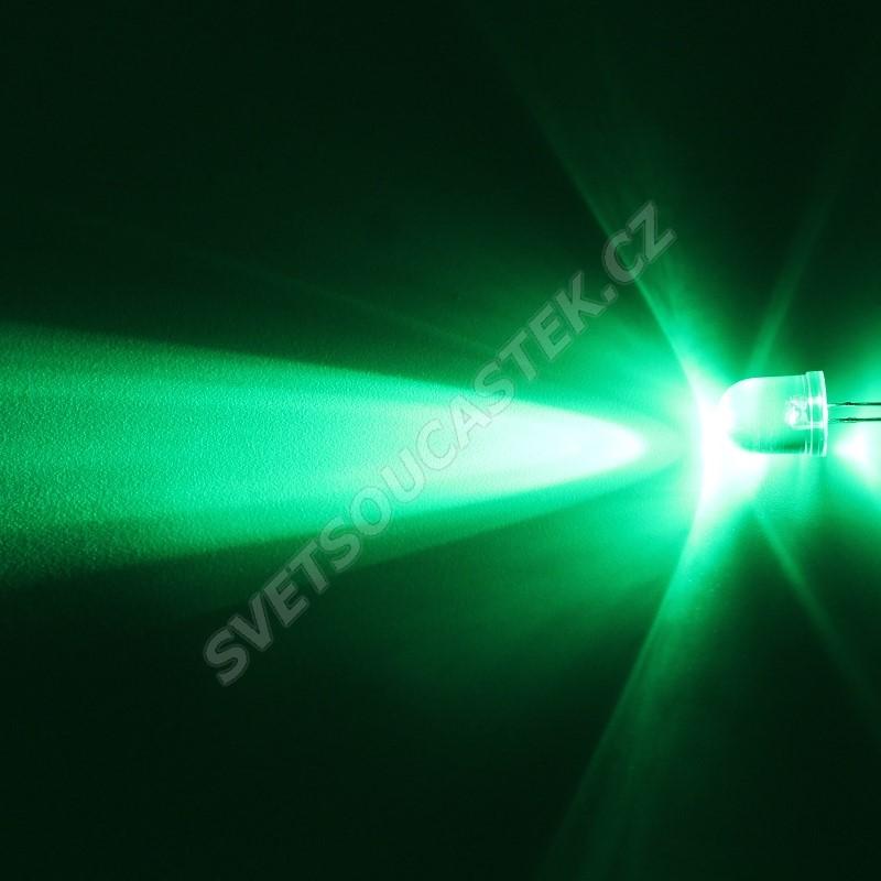 LED 10mm zelená 33000mcd/23° čirá Hebei 1025PG2C