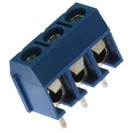 Šroubovací svorkovnice do DPS 3 kontakty 16A/300V RM 5.0mm modrá barva Xinya XY301V-A(5.0) 3P