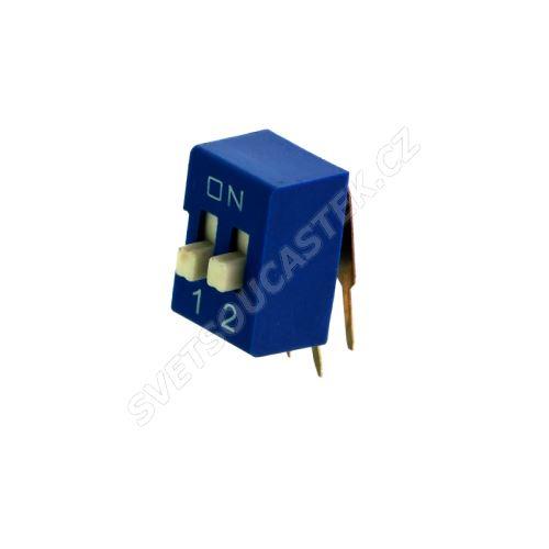 DIP přepínač stojatý 2pólový RM2.54 modrý Kaifeng KF1003-02PG-BLUE