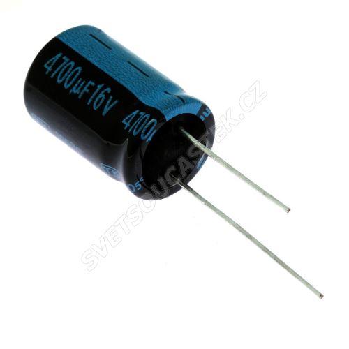 Elektrolytický kondenzátor radiální E 4700uF/16V 16x25 RM7.5 105°C Jamicon TKR472M1CK25M