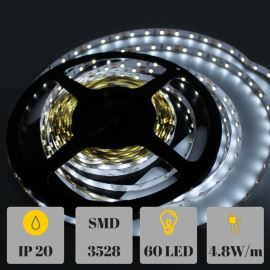 LED pásek přírodní bílá, SMD 3528, 60LED/m (balení 5m) - nevodotěsný STRF 3528-60-NW