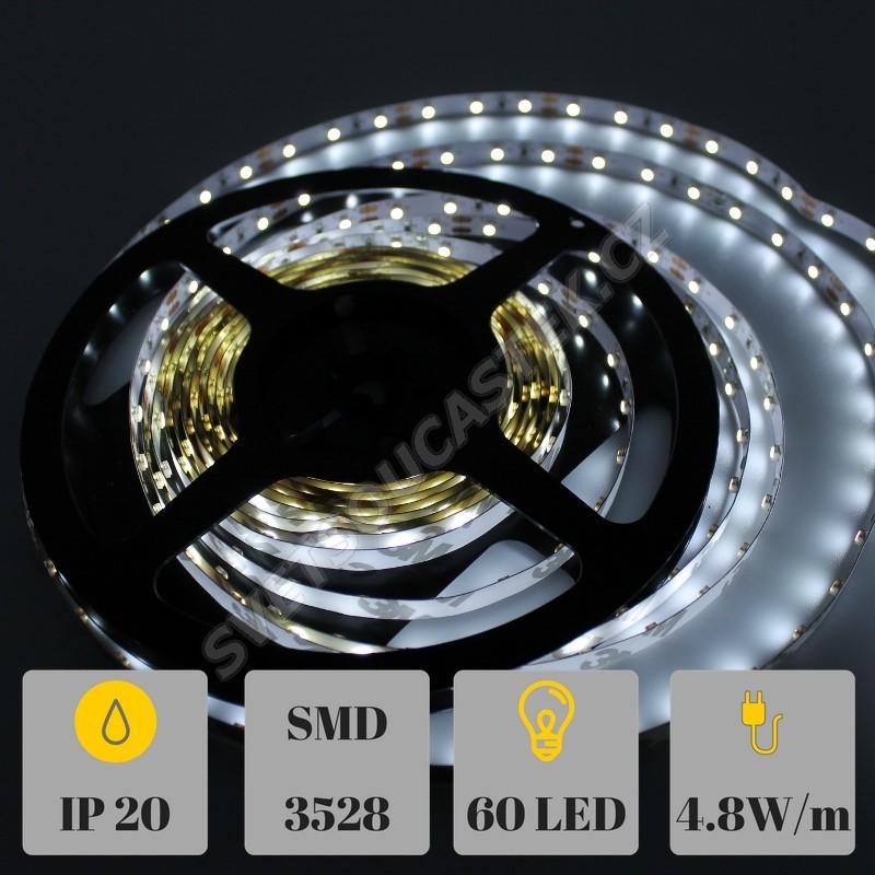 LED pásek studená bílá délka 1 metr, SMD 3528, 60LED/m - nevodotěsný STRF 3528-60-CW