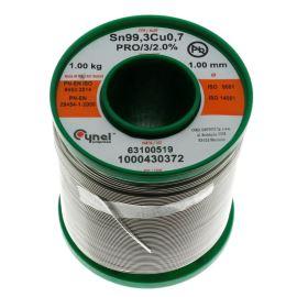 Bezolovnatá pájka 1.0mm 1kg Sn99.3Cu0.7 Cynel SN99C-1.0/1.0/PRO