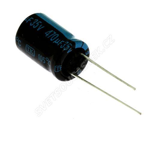 Elektrolytický kondenzátor radiální E 470uF/35V 10x16 RM5 105°C Jamicon TKR471M1VG16M