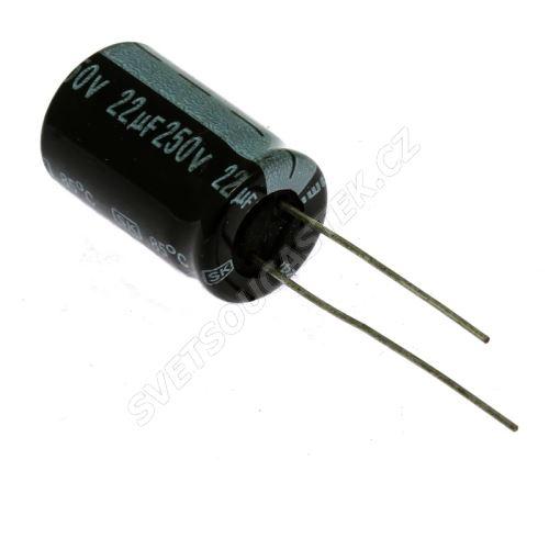 Elektrolytický kondenzátor radiální E 22uF/250V 13x20 RM5 85°C Jamicon SKR220M2EI20M