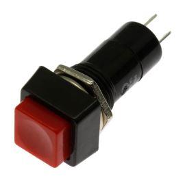 Tlačítkový spínač do panelu přímý spínací 1-pólový OFF-(ON) 1A 125/250V AC Jietong  PBS-12B-RED