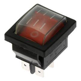Kolébkový spínač do panelu IP44 spínací 2-pólový ON-OFF 20/15A 125/250V AC Jietong  IRS-201-1C3-R/B +WPC-08