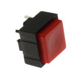 Tlačítkový spínač do DPS přímý spínací 1-pólový (ON)-OFF 0.25A 50V Jietong  PBS-18B RED