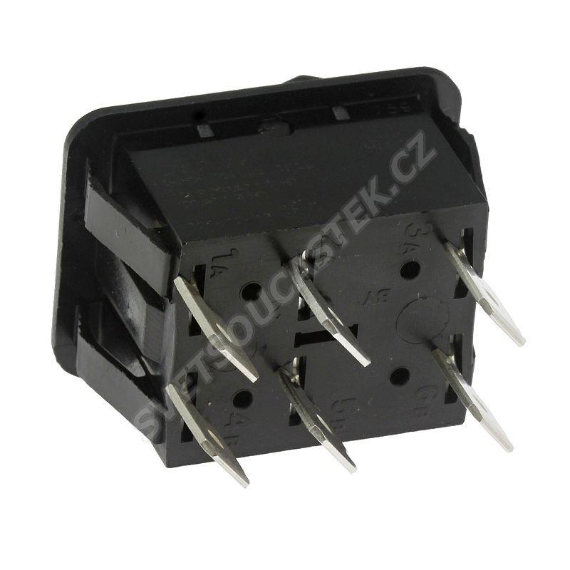 Kolébkový spínač do panelu přepínací 2-pólový ON-OFF-ON 16A/250V AC Bulgin C1570ABAAA