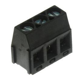 Šroubovací svorkovnice do DPS 3 kontakty 24A/250V RM5.08mm černá barva PTR AKZ350/3-5.08-V-BLACK