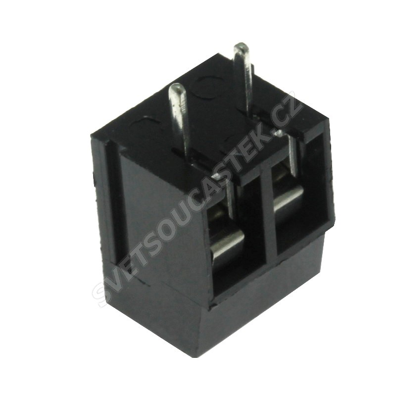 Šroubovací svorkovnice do DPS 2 kontakty 16A/250V RM 5.0mm černá barva Xinya XY305A(5.0) 2P