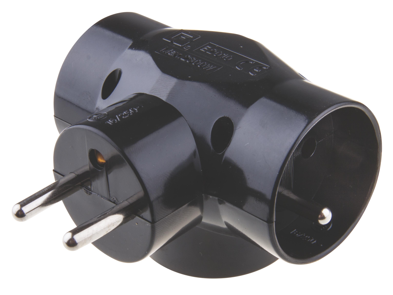 Emos Rozbočovací zásuvka trojnásobná kulatá černá 250V / 10A