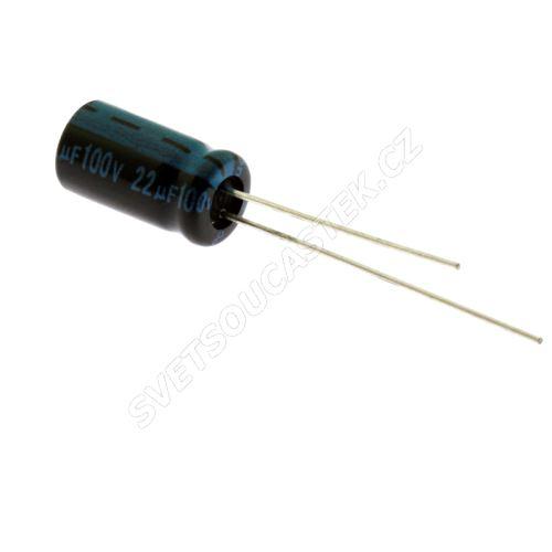 Elektrolytický kondenzátor radiální E 22uF/100V 6.3x11 RM2.5 105°C Jamicon TKR220M2AE11M