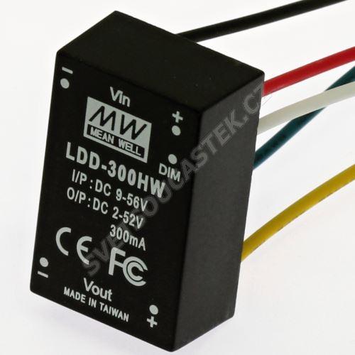 DC/DC LED driver s drátovými vývody (2-52V/300mA) Mean Well LDD-300HW