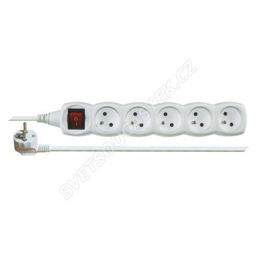 Prodlužovací kabel bílý 3x1mm 5 zásuvek s vypínačem 10m