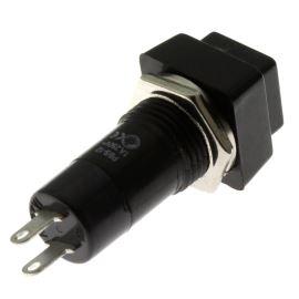 Tlačítkový spínač do panelu přímý spínací 1-pólový OFF-(ON) 1A 125/250V AC Jietong  PBS-12B BLACK